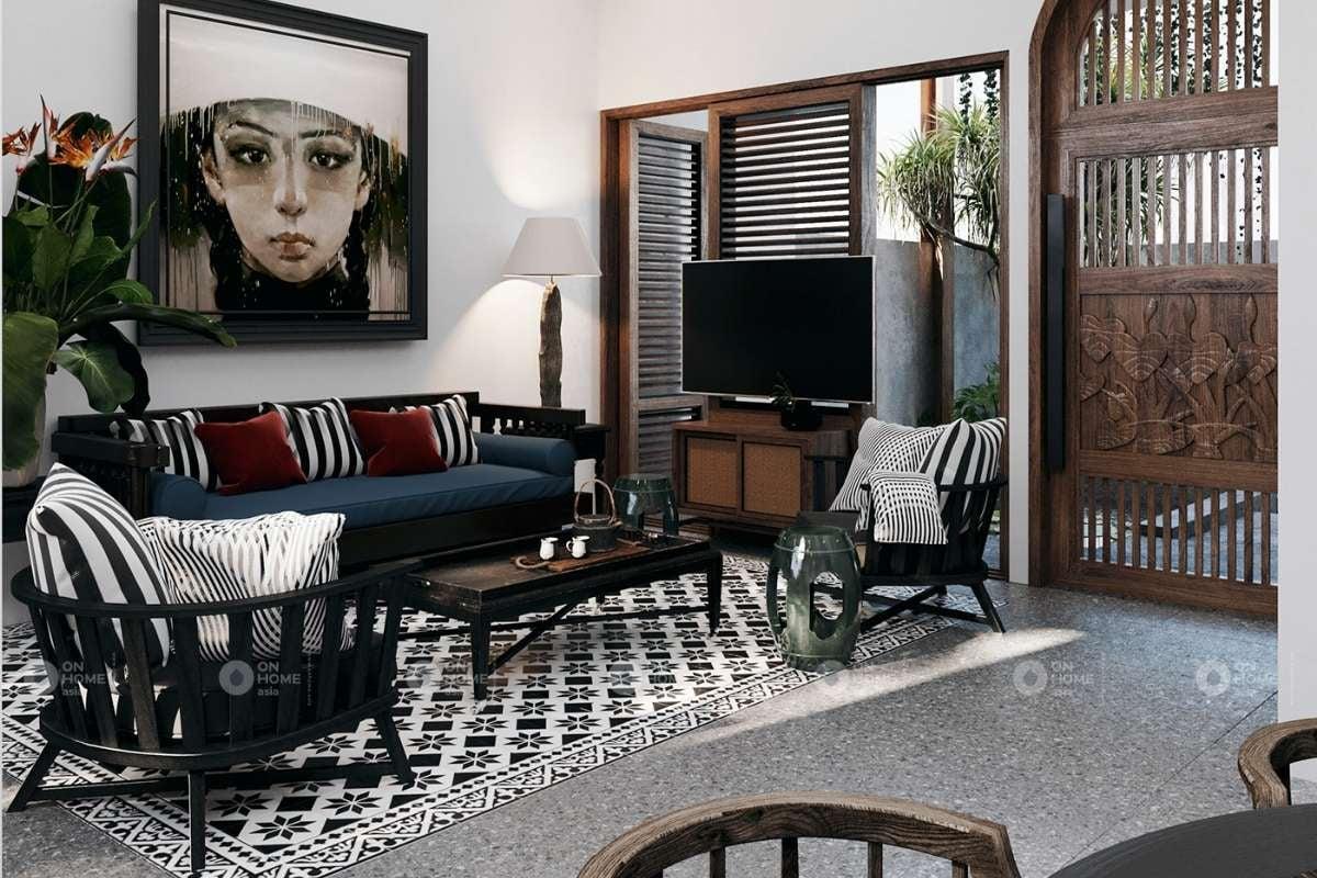 Phòng khách biệt thự nổi bật với nhiều gam màu