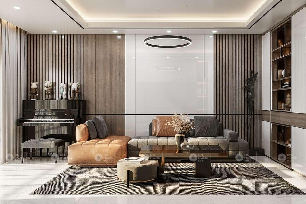 Bộ sofa với hai màu nâu và xám kết hợp ăn ý