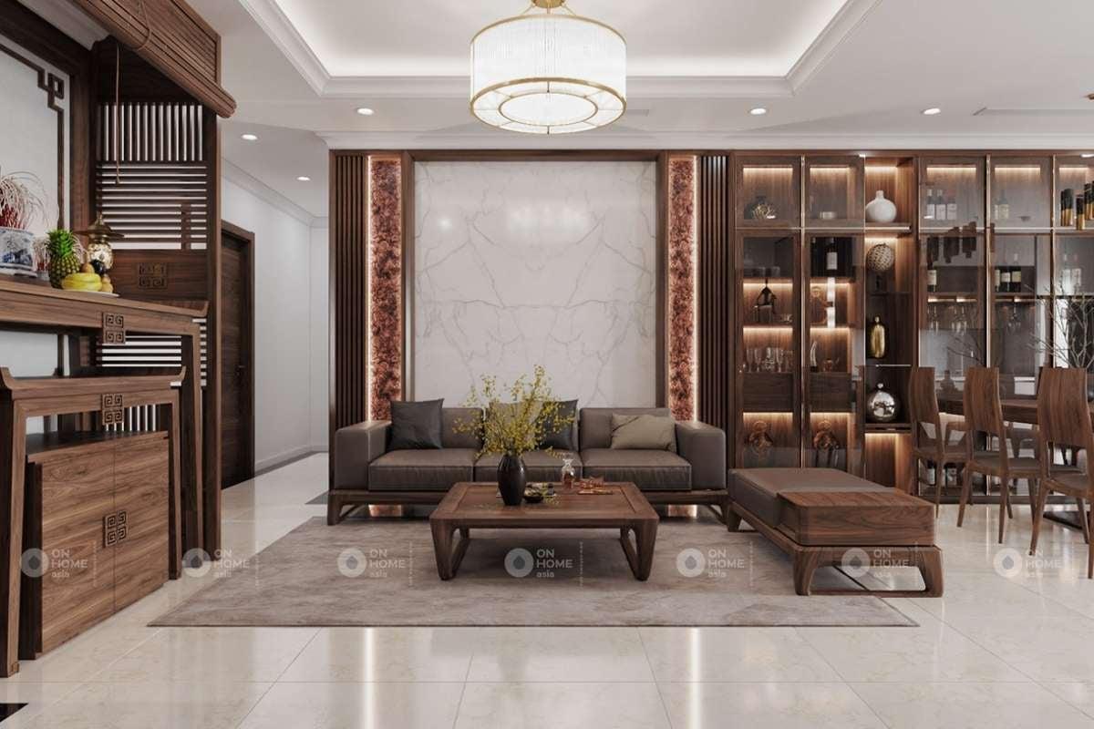 Phòng khách biệt thự hiện đại với chất liệu gỗ ấm cúng