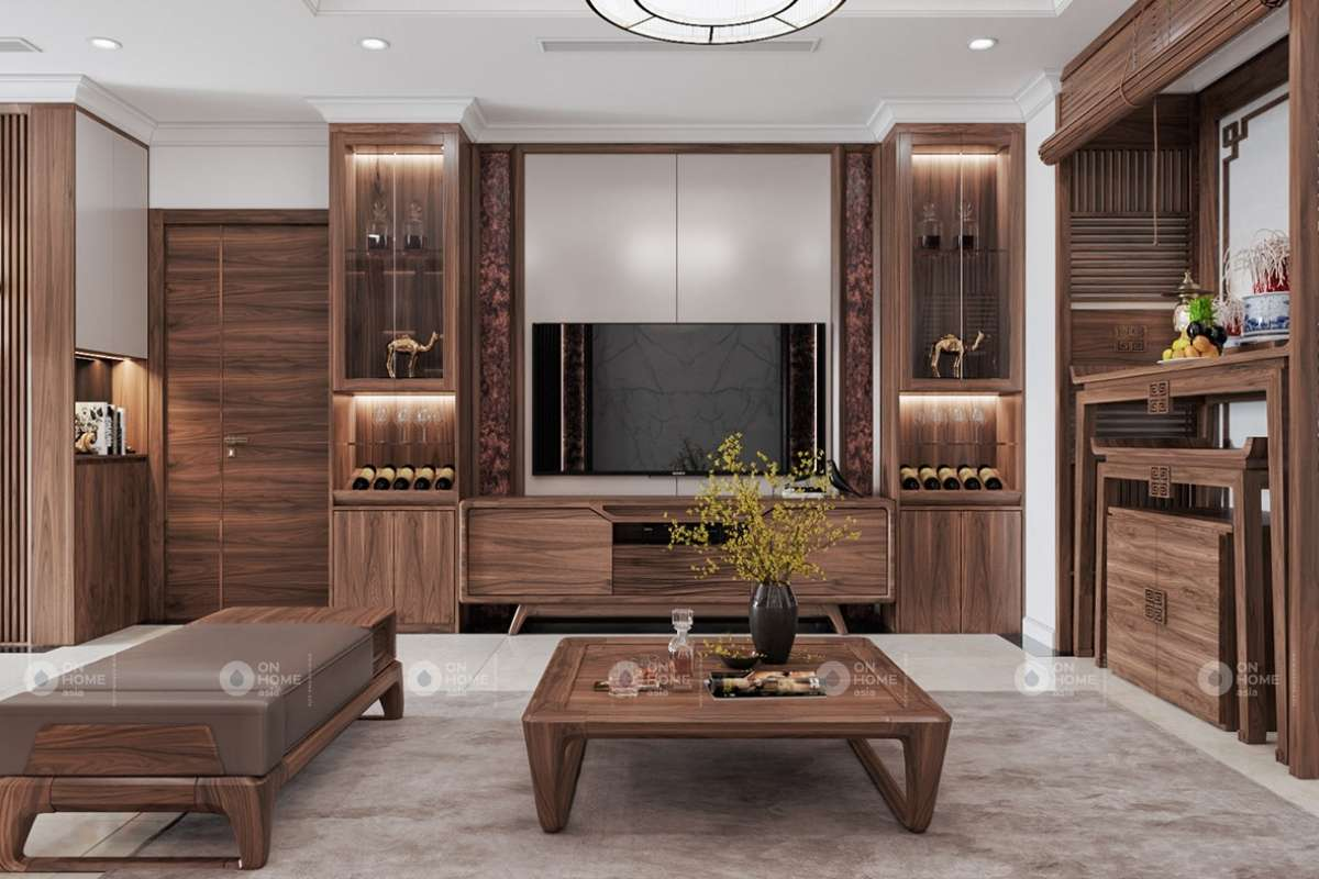 Kệ tivi gỗ với thiết kế ấn tượng