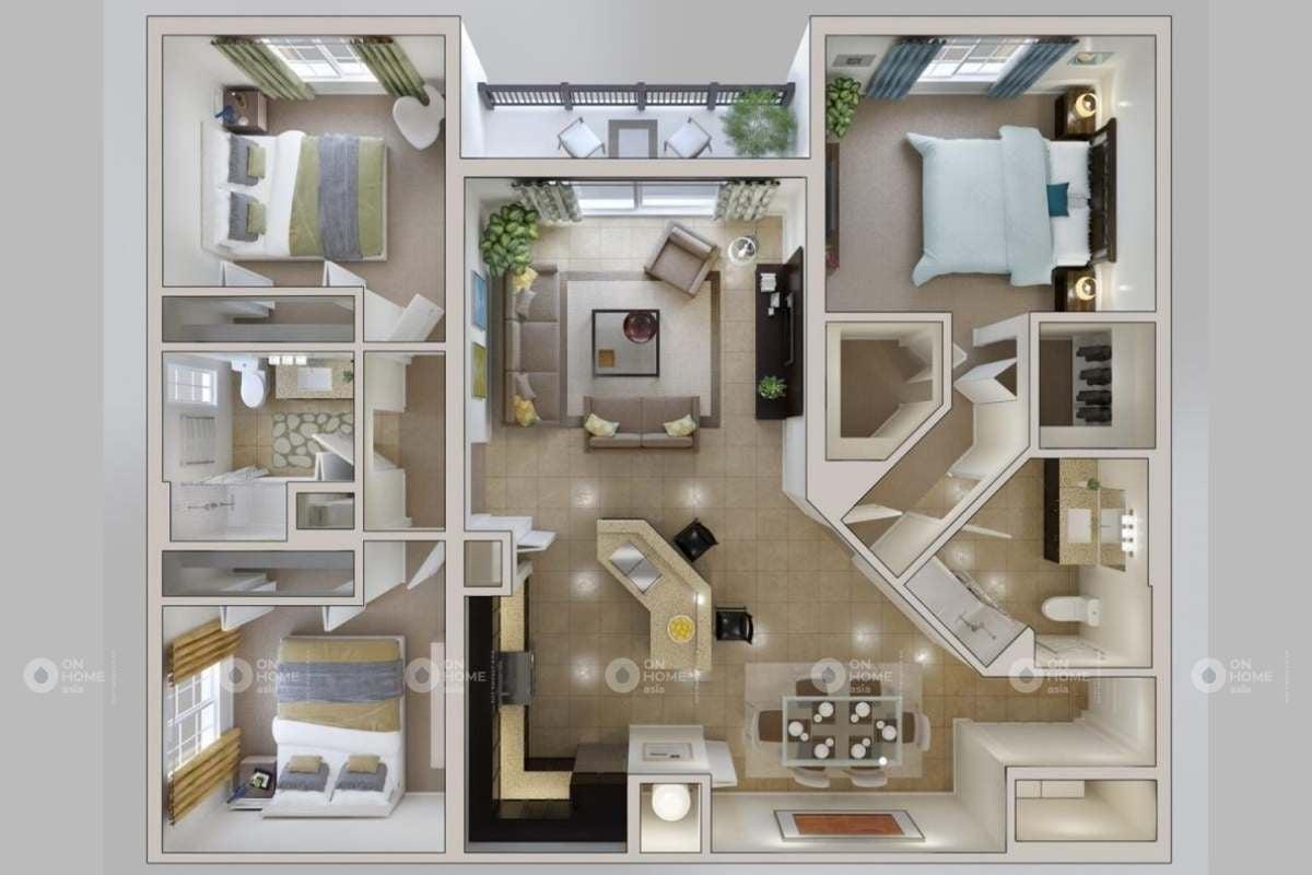 phân chia nội thất căn hộ 90m2