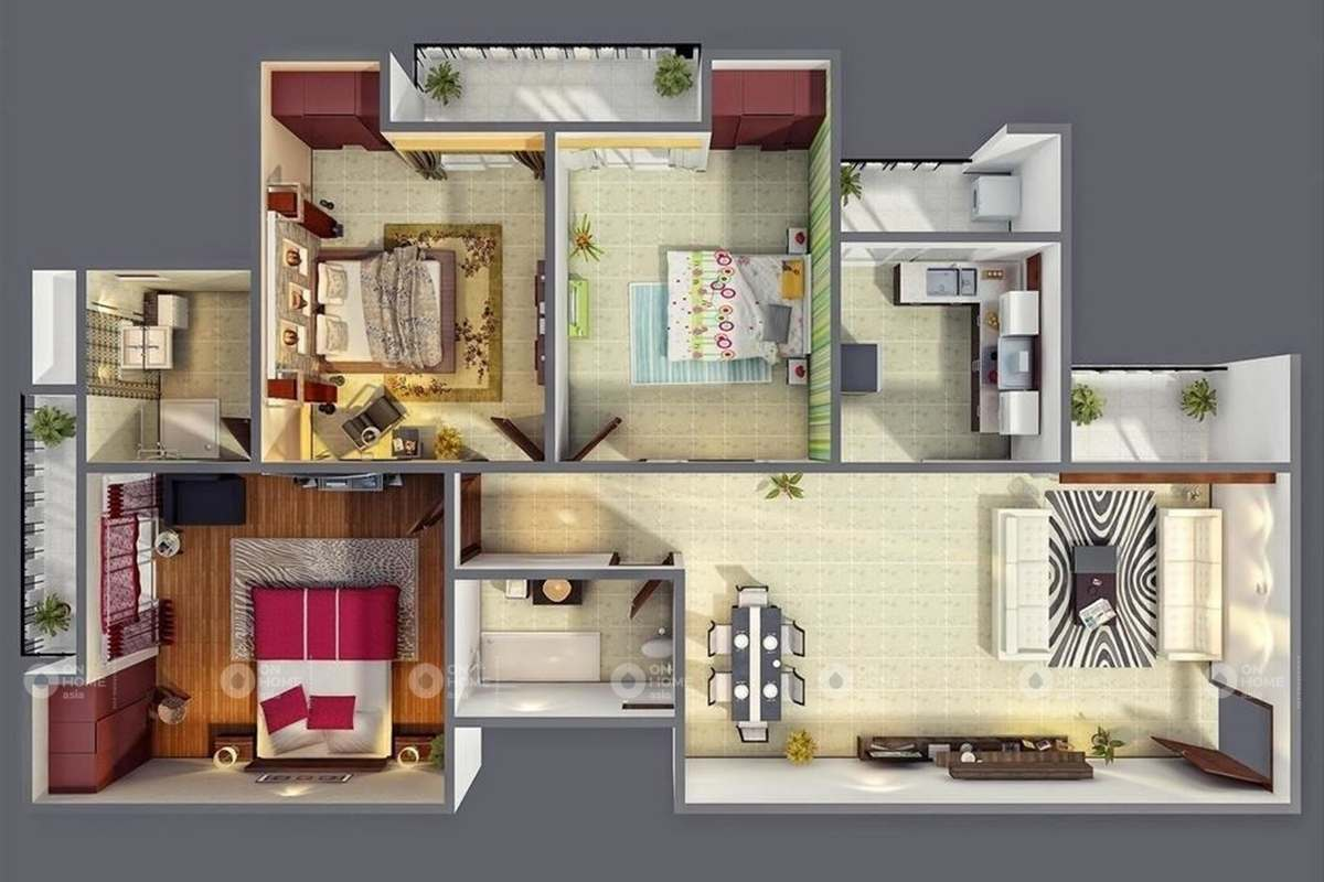 Ngăn chia căn hộ 90m2 dành cho gia đình có 3 thế hệ