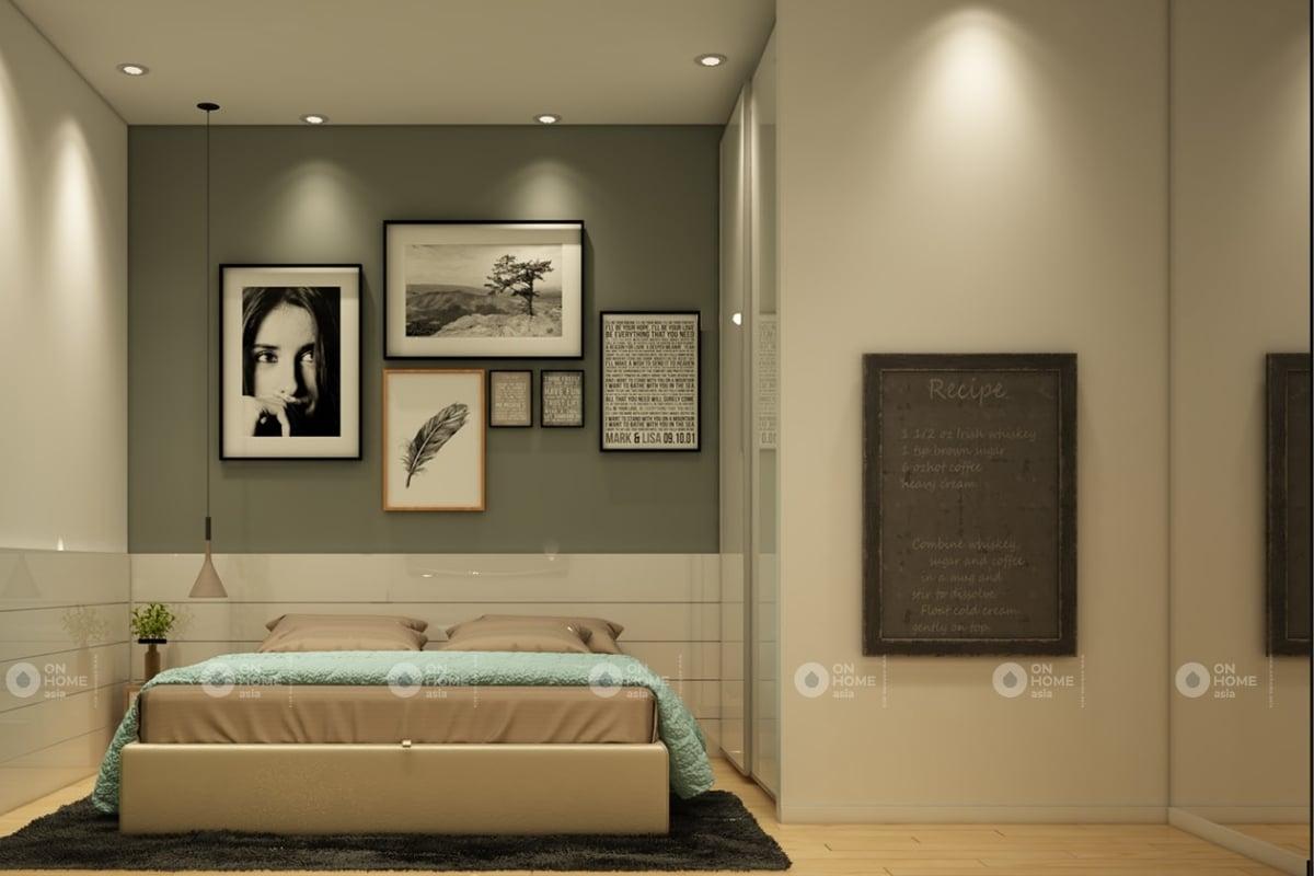 Phòng ngủ với màu xanh nhẹ nhàng