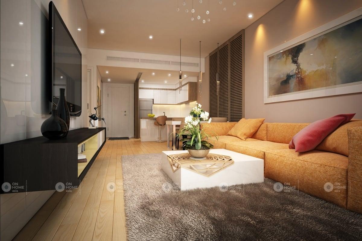 Thiết kế nội thất phòng khách với bộ sofa màu cam