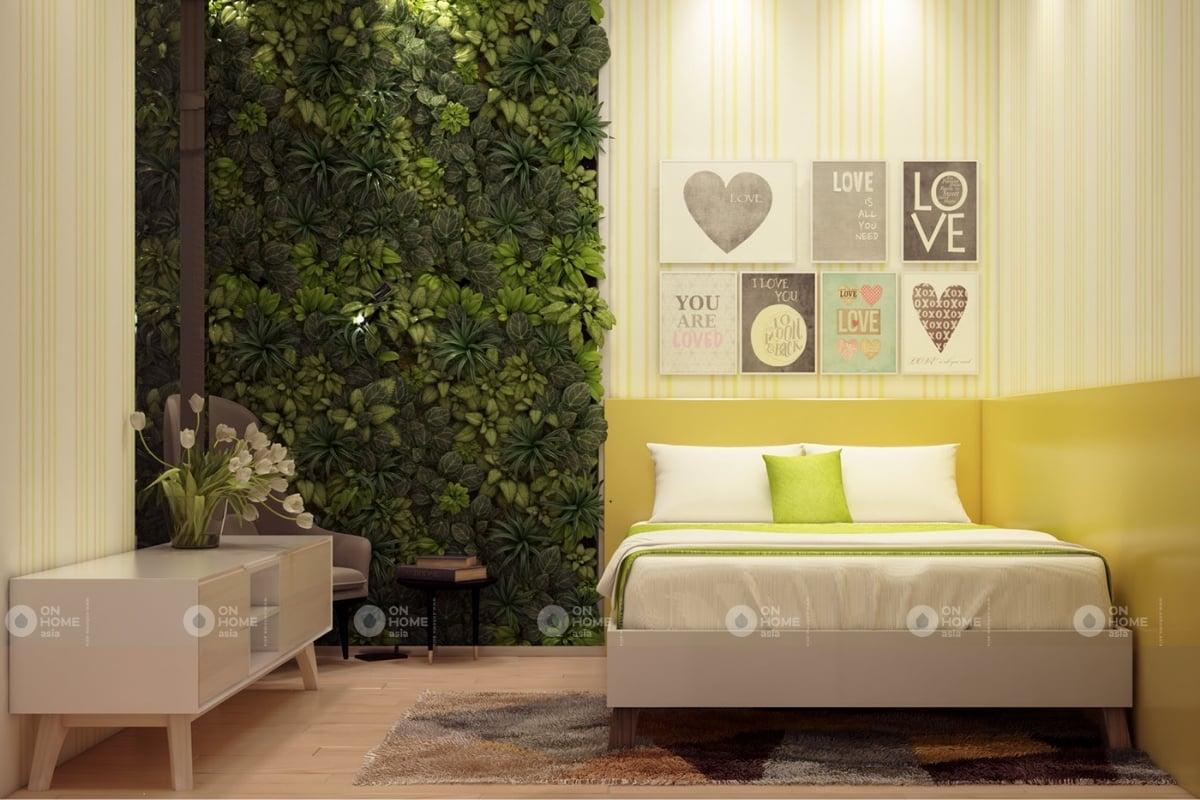 Nội thất phòng ngủ với màu xanh lá cây mát mẻ