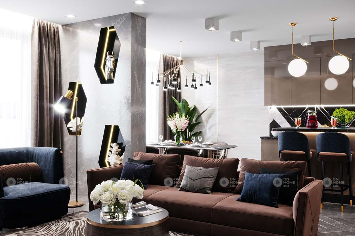 Thiết kế phòng khách căn hộ chung cư 90m2