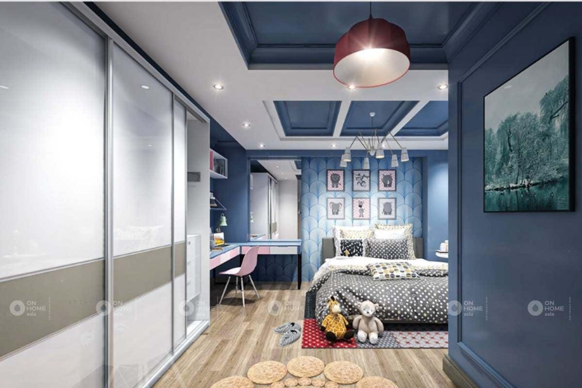 Phòng ngủ cho bé với màu xanh đẹp mắt