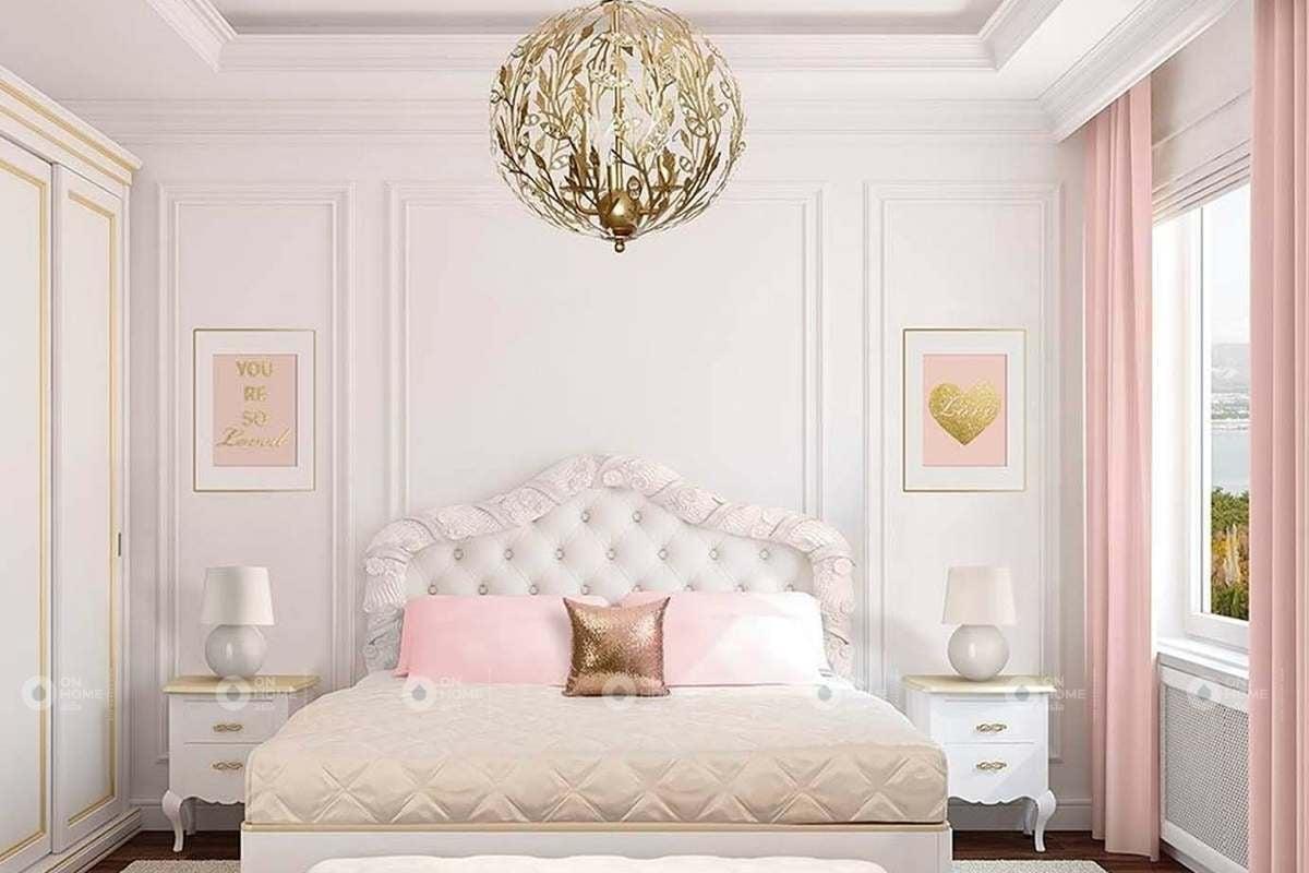 Thiết kế phòng ngủ với màu hồng dịu dàng