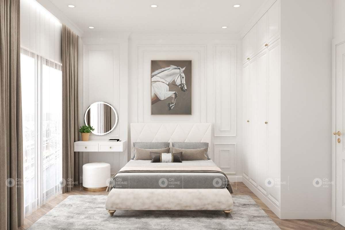 Phòng ngủ với gam màu trắng chủ đạo