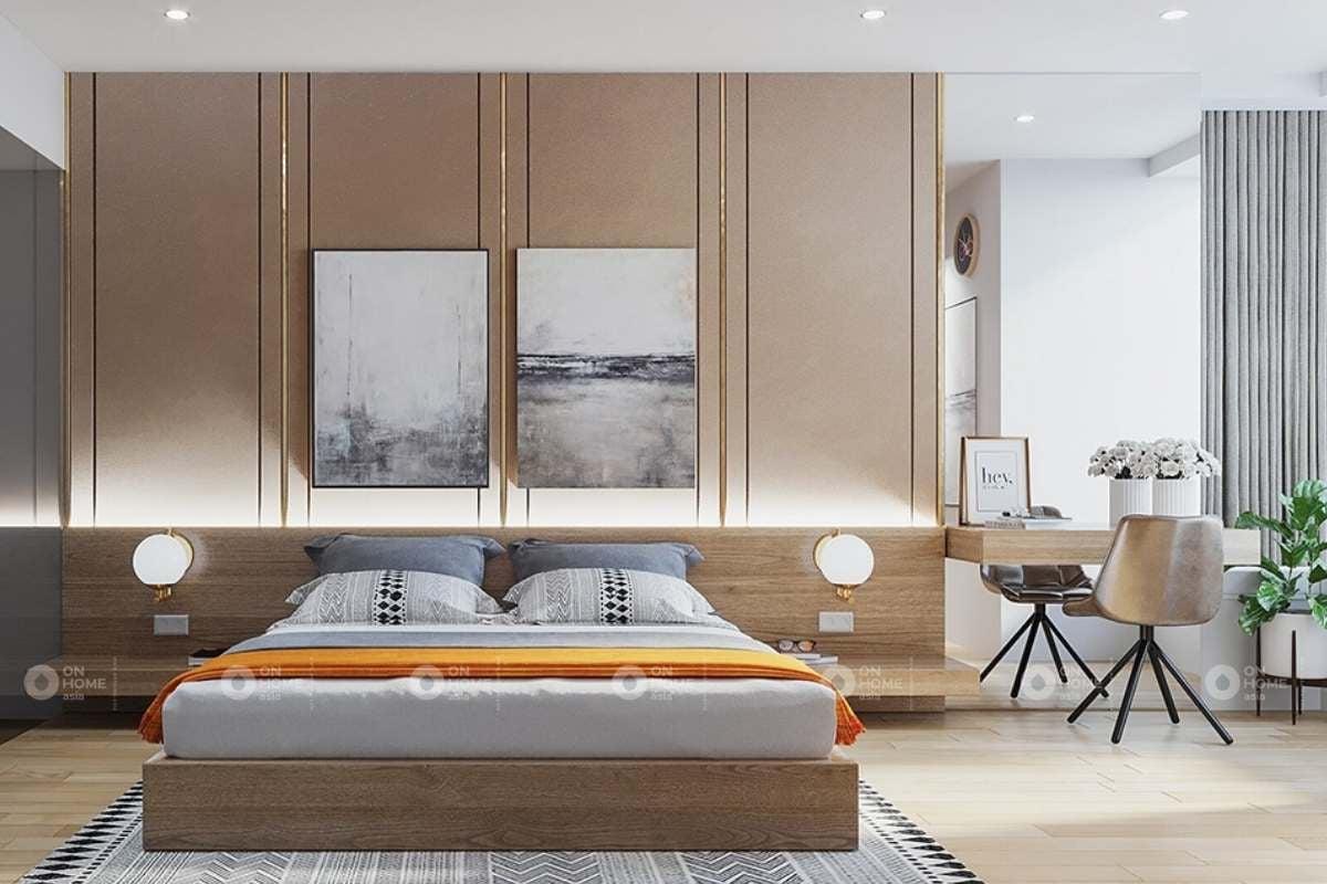 Nội thất phòng ngủ master với chất liệu gỗ ấm cúng