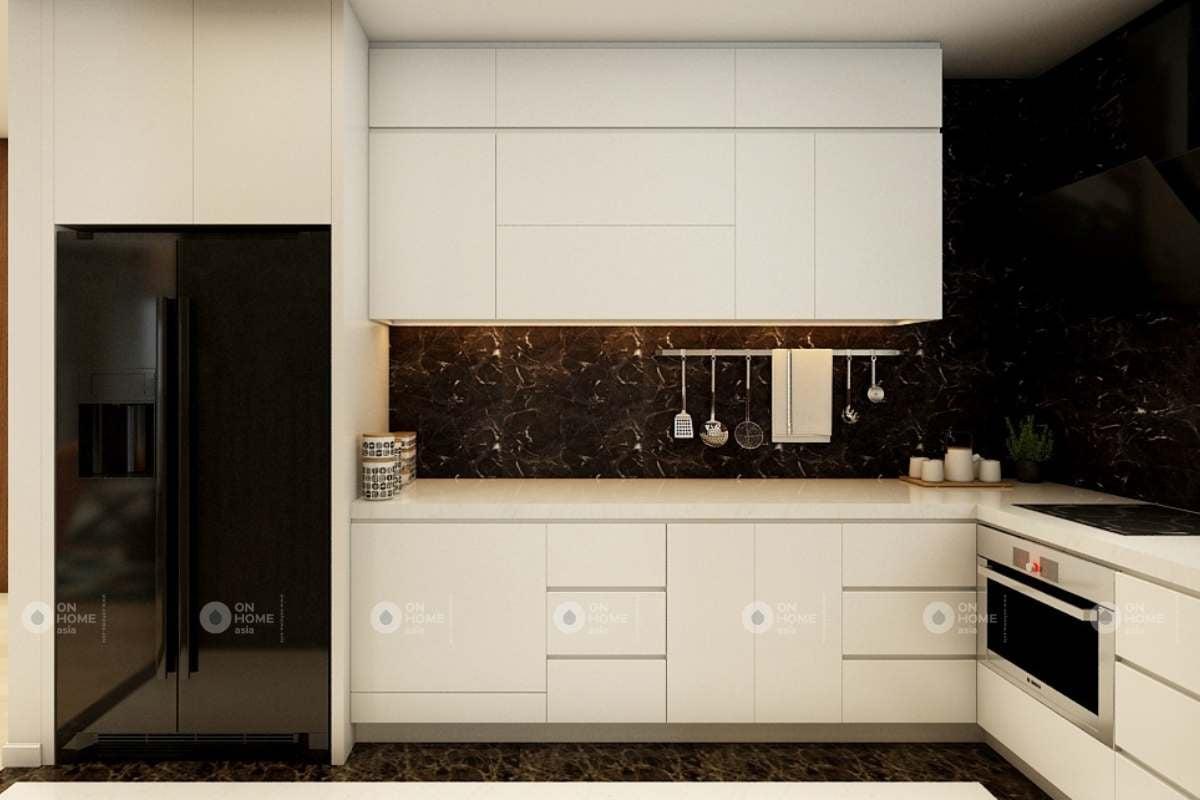 Thiết kế tủ bếp acrylic sáng bóng
