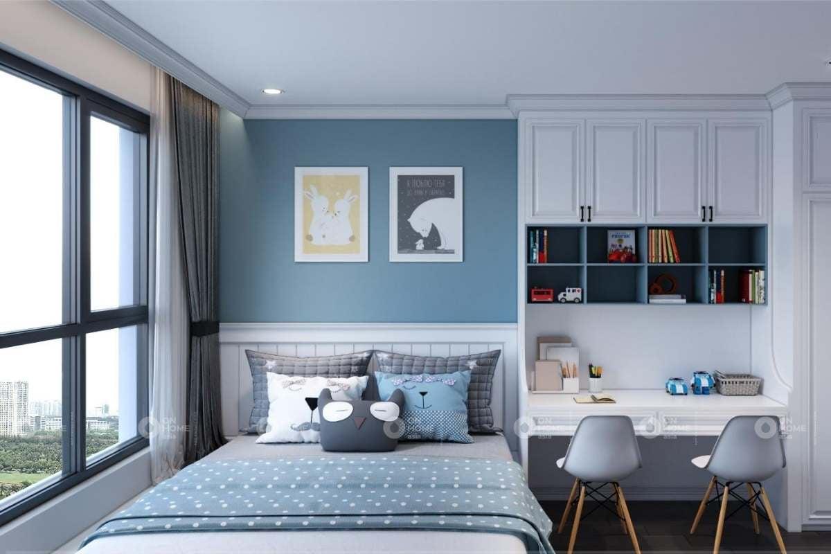 Thiết kế nội thất phòng ngủ trẻ em với màu xanh và xám chủ đạo