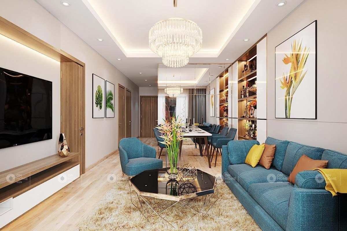 Phòng khách chung cư với màu xanh đẹp mắt