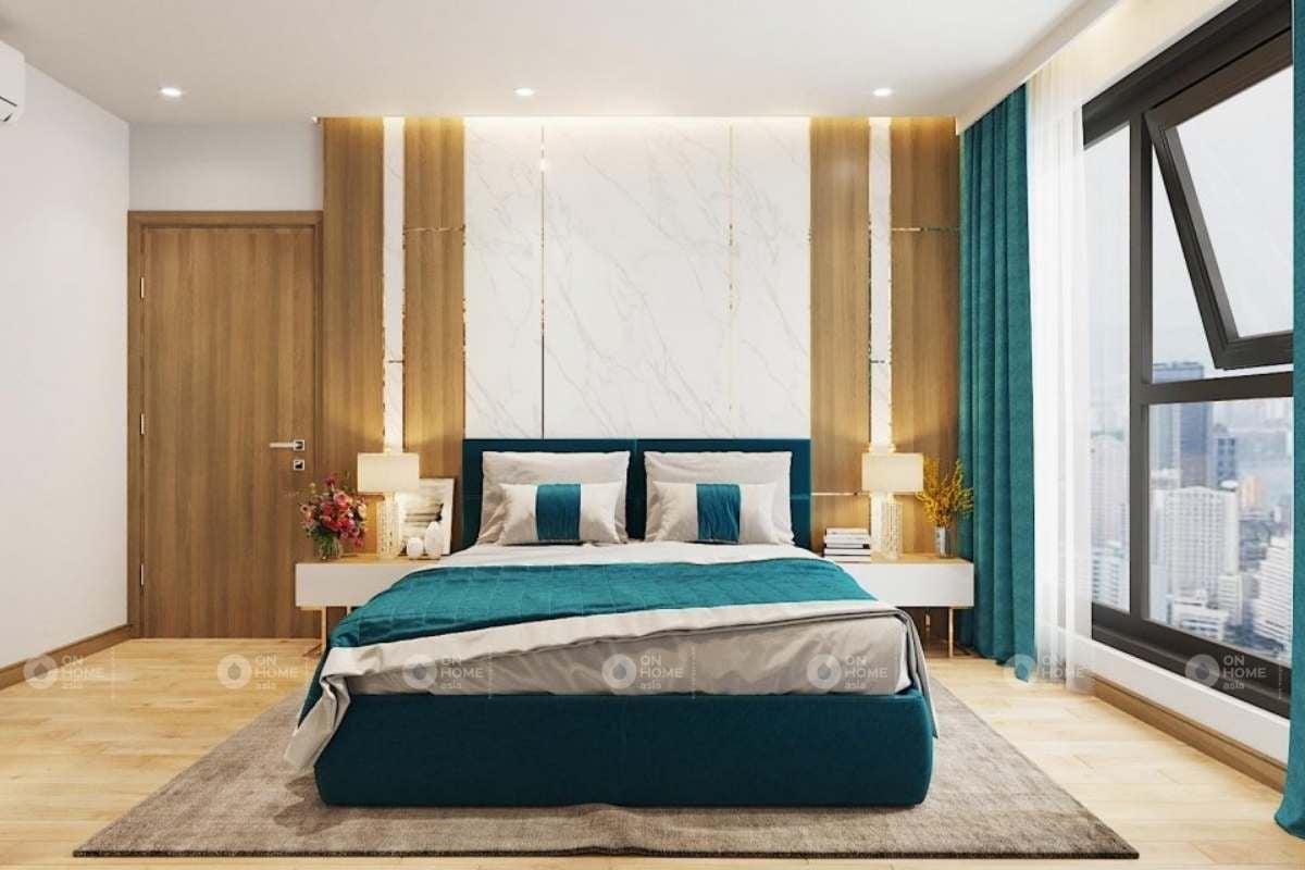Không gian phòng ngủ với màu xanh đẹp mắt