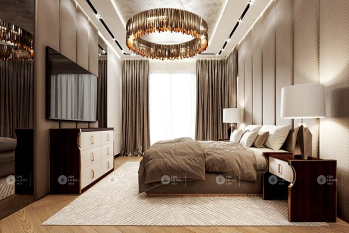 Nội thất phòng ngủ master căn hộ chung cư 90m2 sang trọng