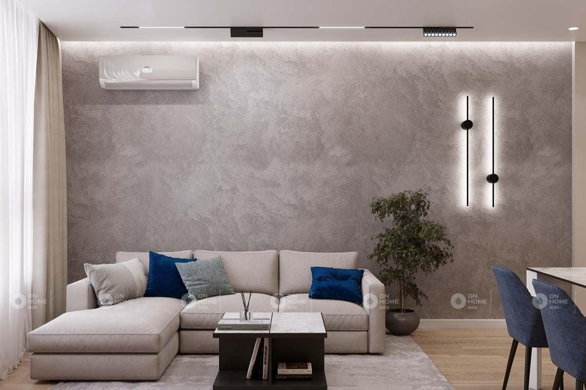 Bức tường bê tông tạo điểm nhấn khác lạ cho không gian