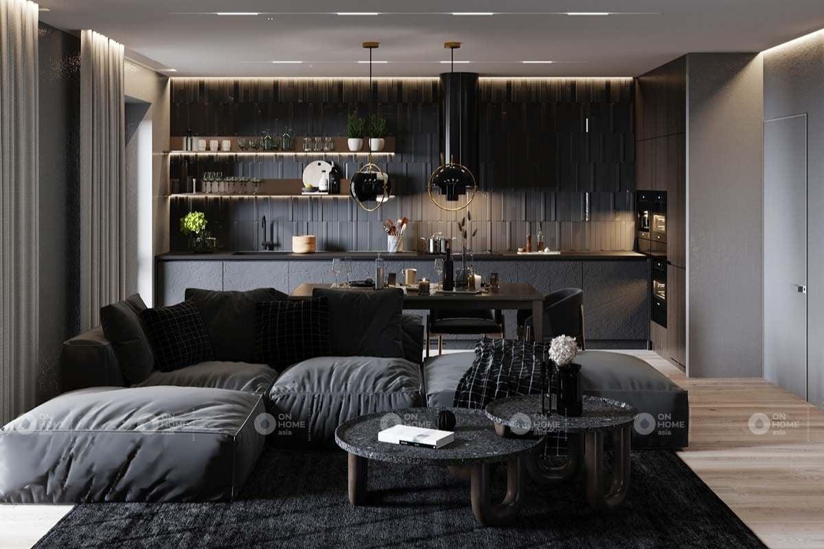 nội thất chung cư 90m2 với màu đen chủ đạo