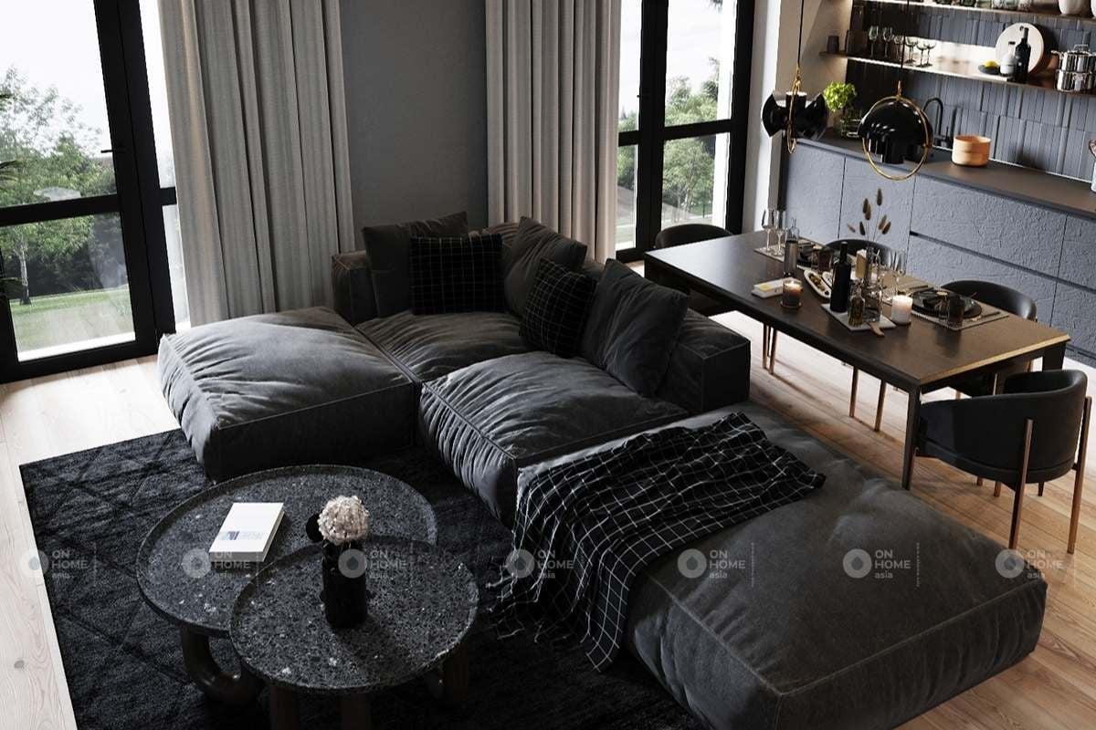 Thiết kế phòng khách với màu đen chủ đạo