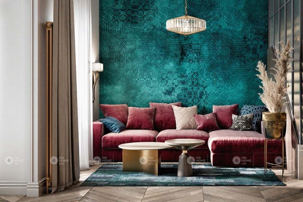 Nội thất phòng khách với màu hồng và xanh đầy quyến rũ