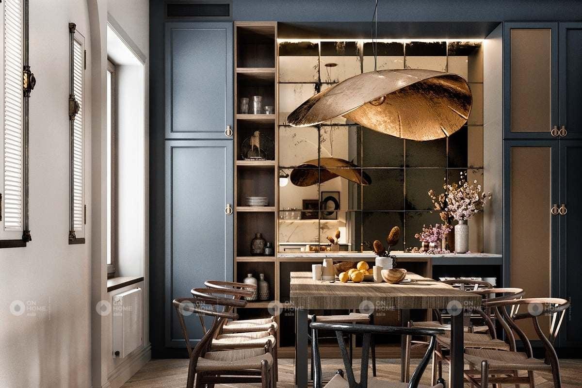 Bàn ăn phòng bếp với chất liệu gỗ tự nhiên