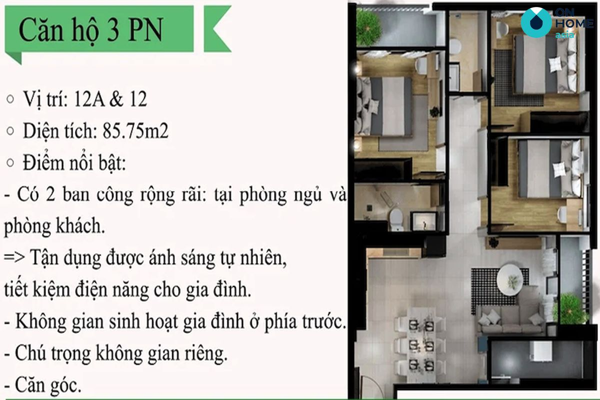Eco Xuân - Mặt bằng nội thất căn hộ 3 phòng ngủ loại 12A