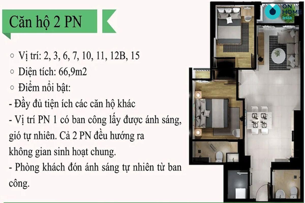mặt bằng căn hộ Eco Xuân 2 phòng ngủ