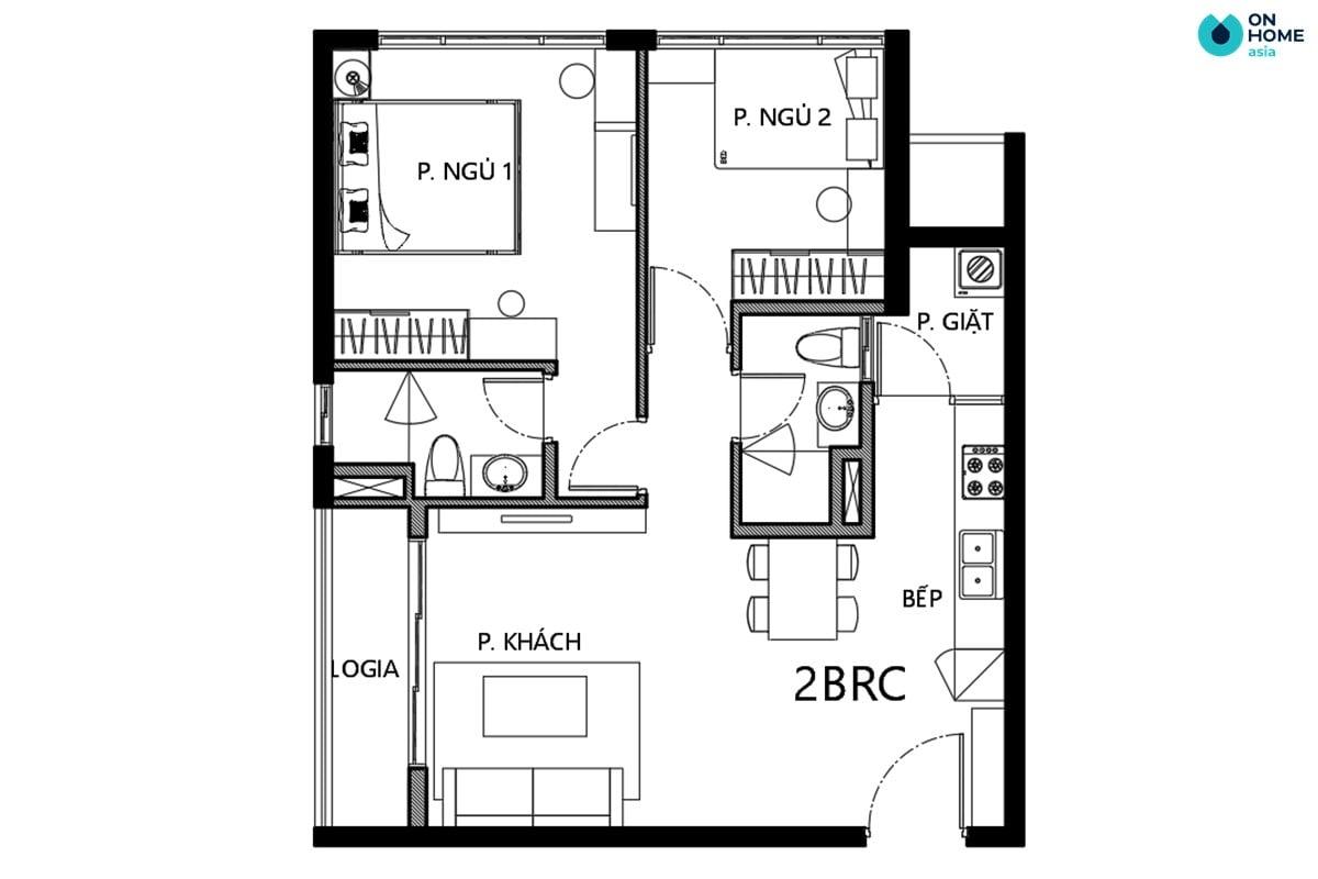 Mặt bằng căn 2 phòng ngủ loại 2BRC