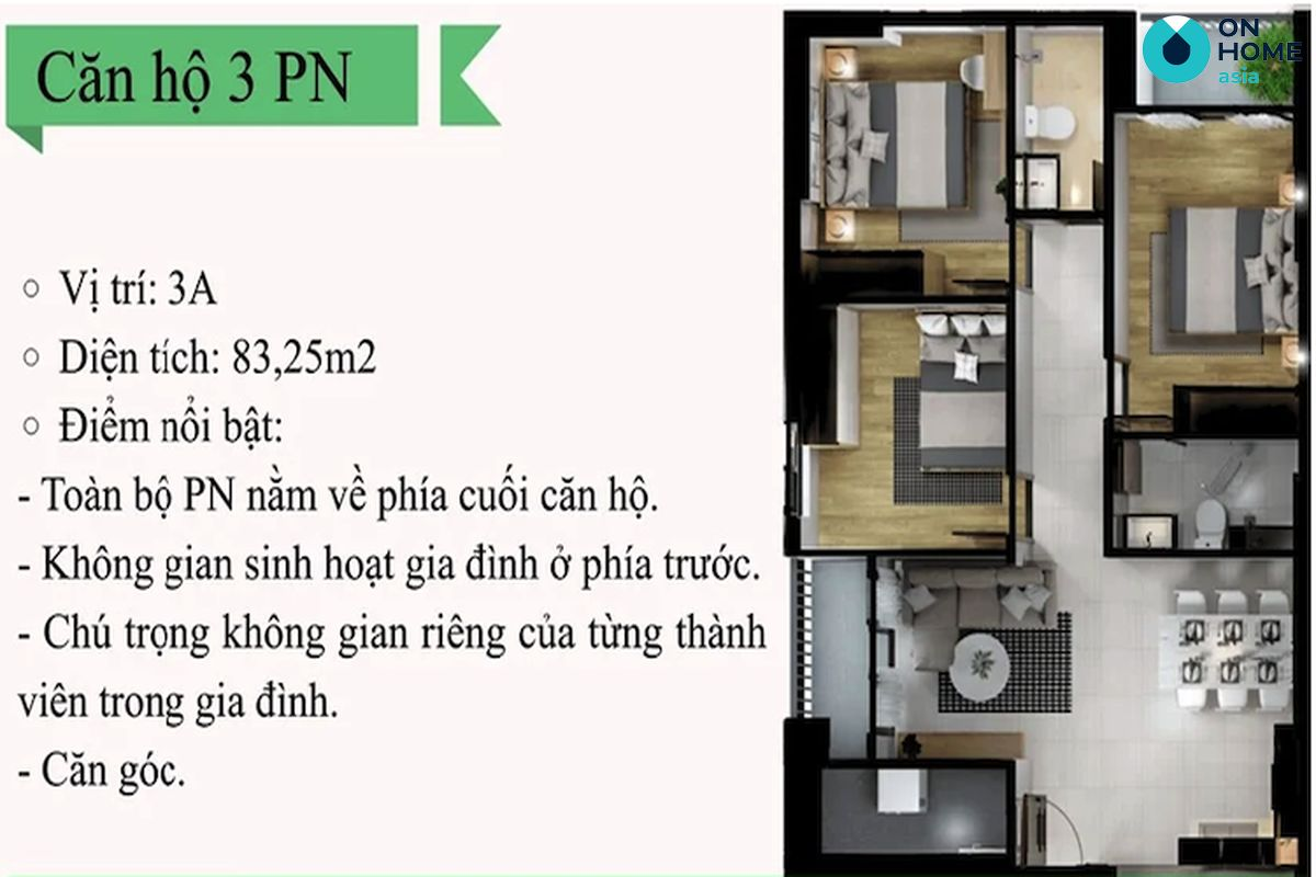 Eco Xuân - Mặt bằng nội thất căn hộ 3 phòng ngủ loại 3A