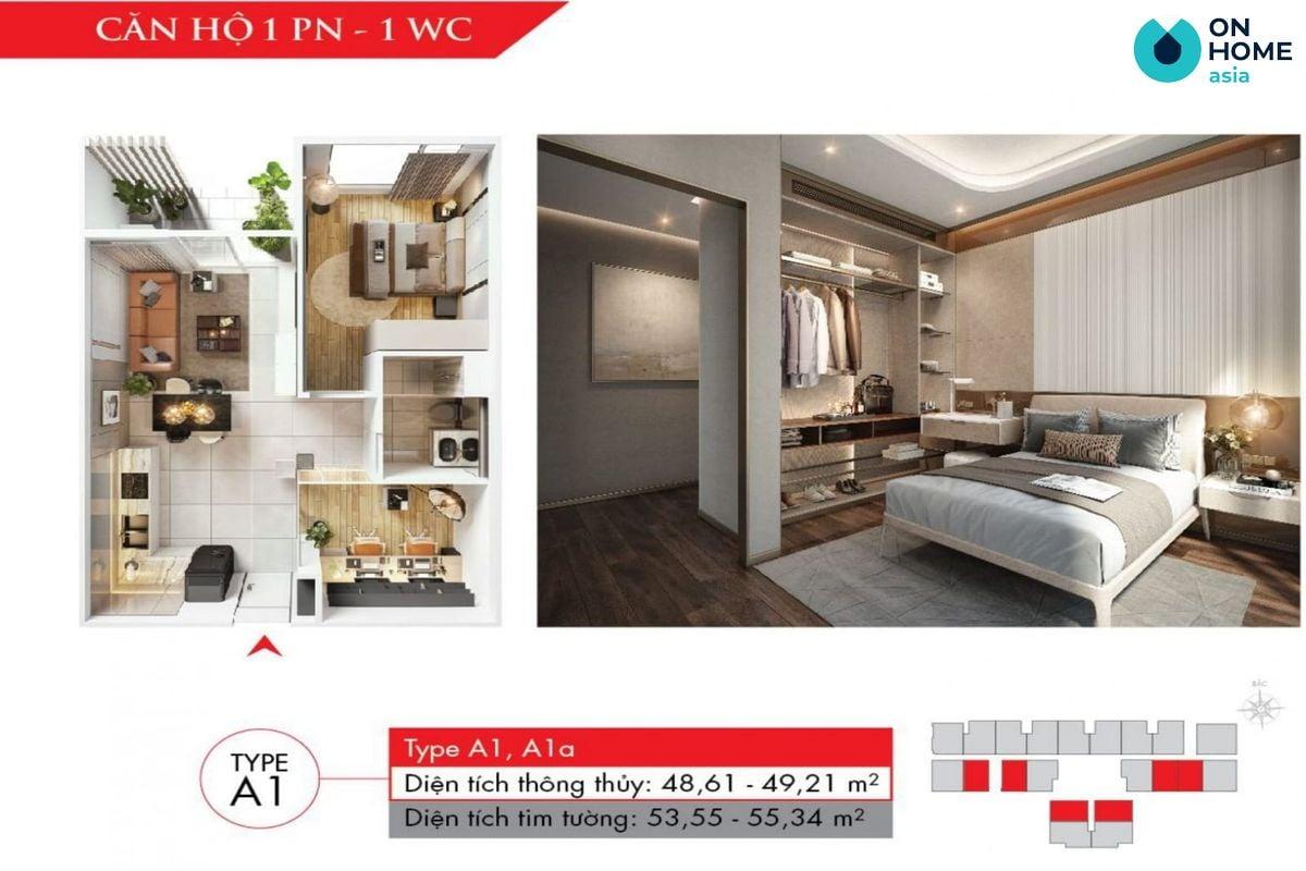 Astral City - Mặt bằng nội thất căn hộ 1 phòng ngủ