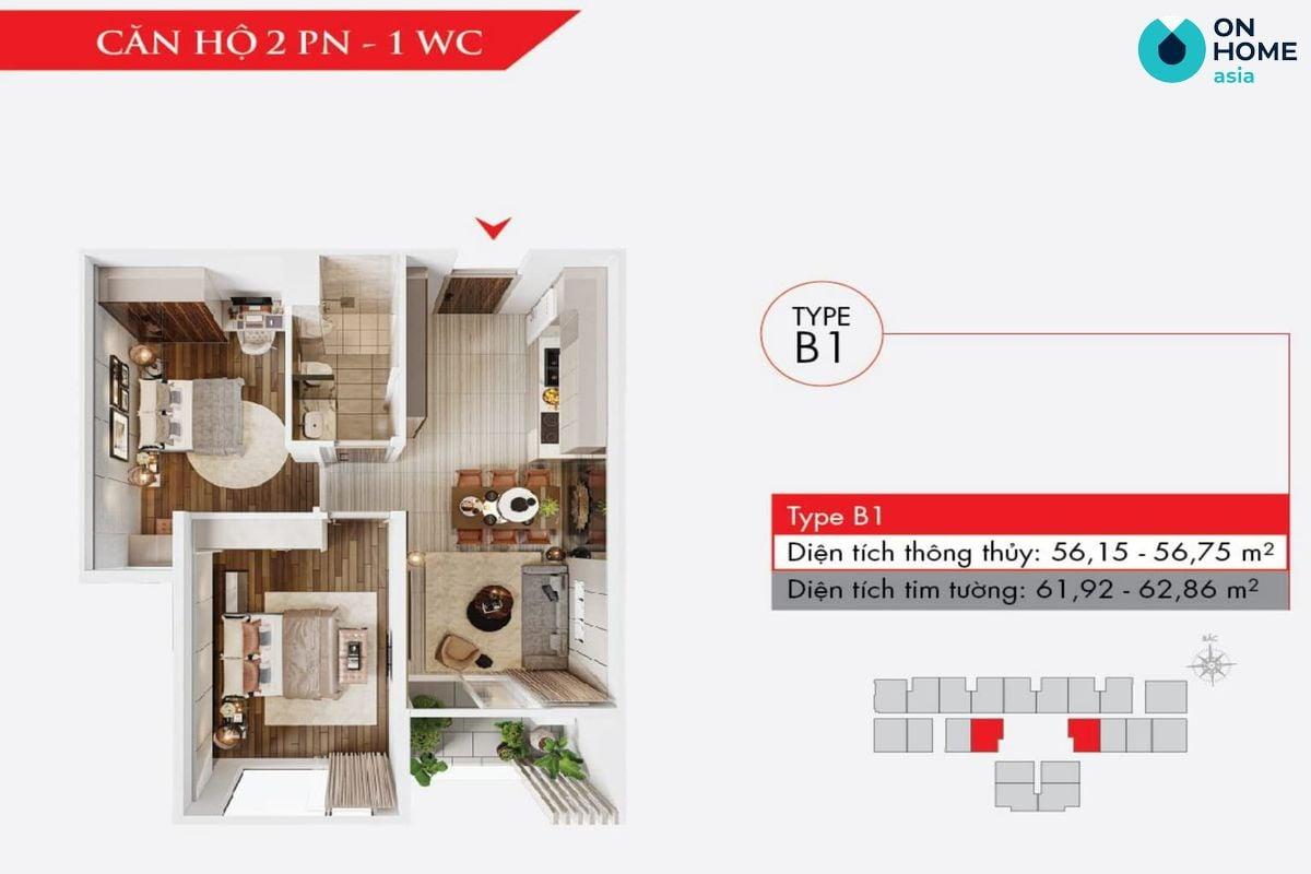 Astral City - Mặt bằng nội thất căn hộ 2 phòng ngủ + 1 WC