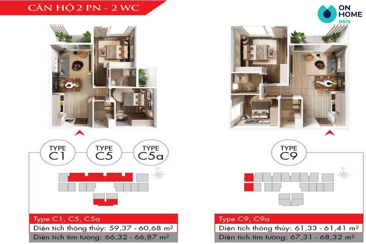 Astral City - Mặt bằng nội thất căn hộ 2 phòng ngủ + 2 WC