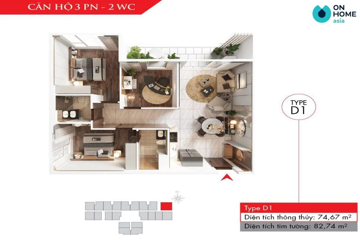 Astral City - Mặt bằng nội thất căn hộ 3 phòng ngủ
