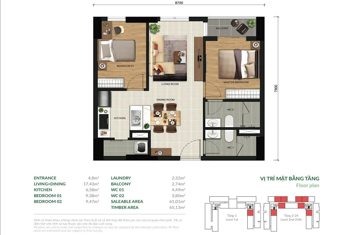 Mặt bằng căn hộ chung cư The View 2 phòng ngủ