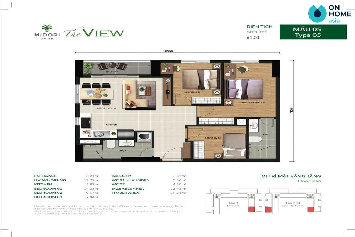 Mặt bằng căn hộ The View 3 phòng ngủ