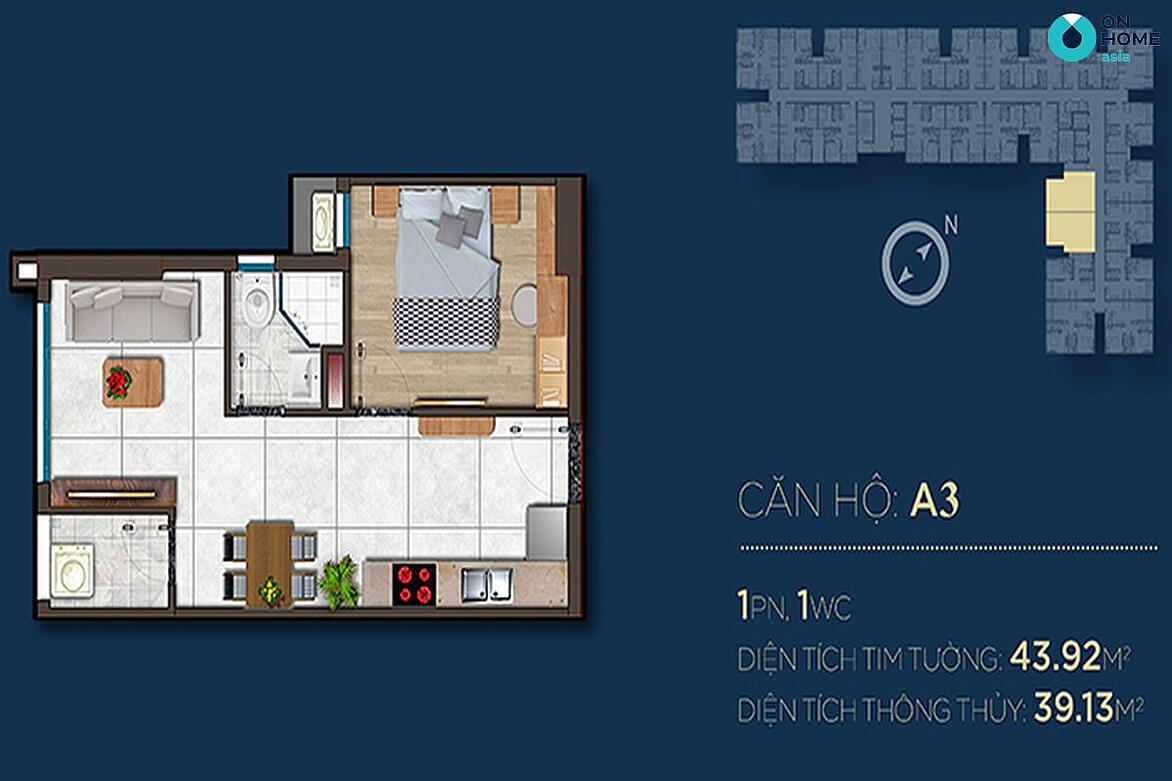 Mặt bằng nội thất các mẫu căn hộ Happy One 1 phòng ngủ