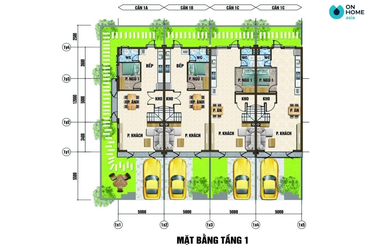 Mặt bằng nội thất tầng 1 dự án nhà phố Ecolakes Mỹ Phước