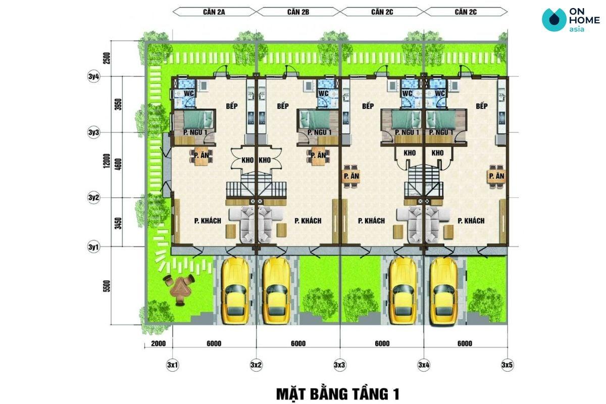 Mặt bằng nội thất tầng 2 dự án nhà phố Ecolakes Mỹ Phước (6x20)