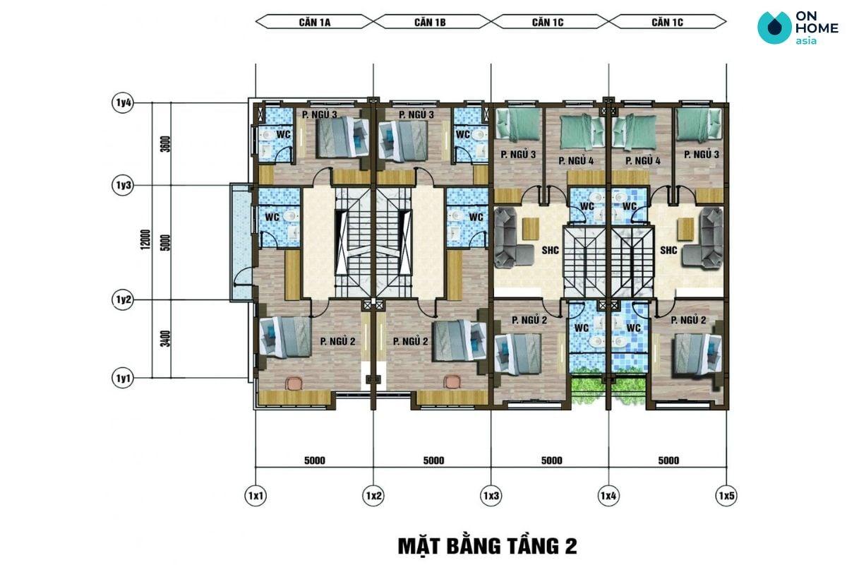 Mặt bằng nội thất tầng 2 dự án nhà phố Ecolakes Mỹ Phước