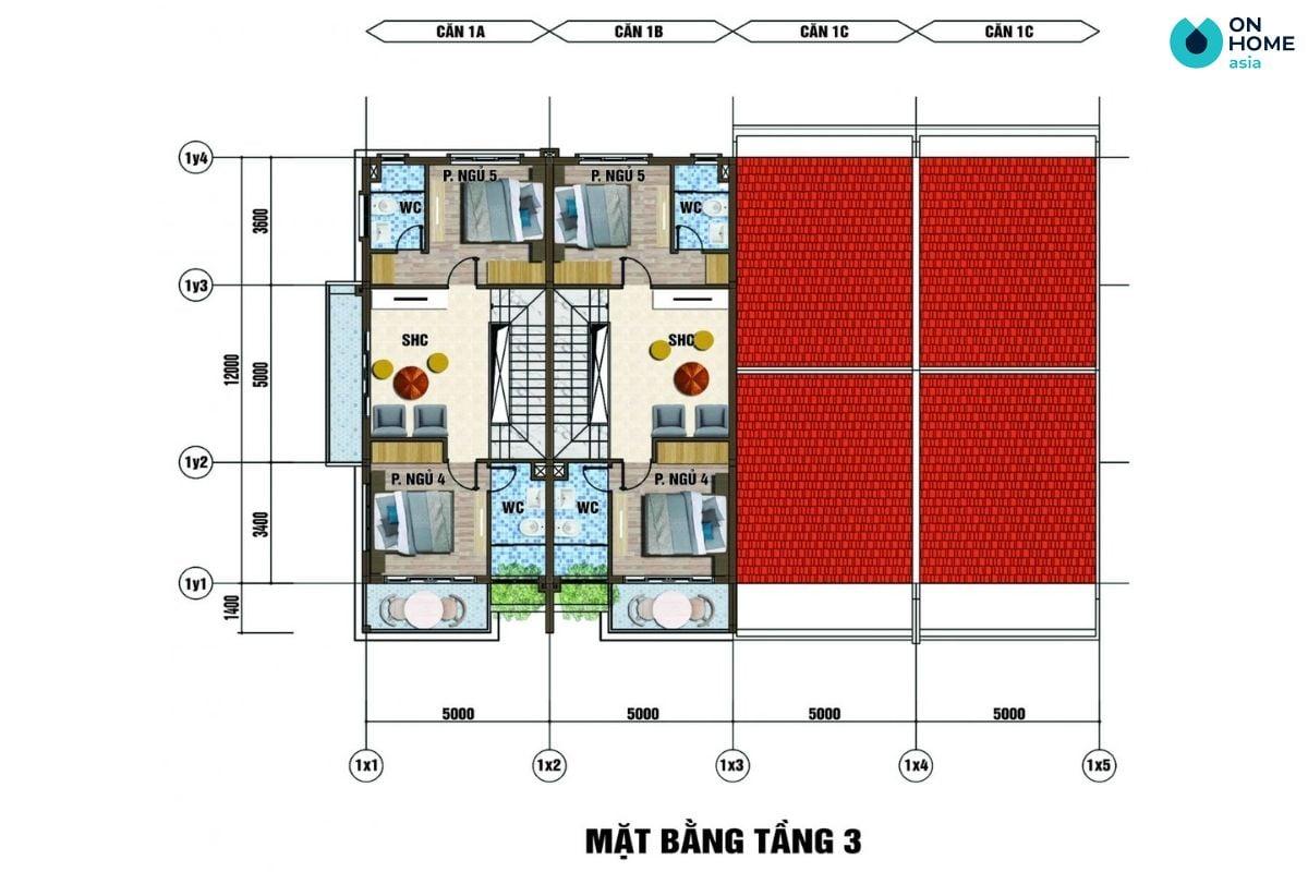 Mặt bằng nội thất tầng 3 dự án nhà phố Ecolakes Mỹ Phước