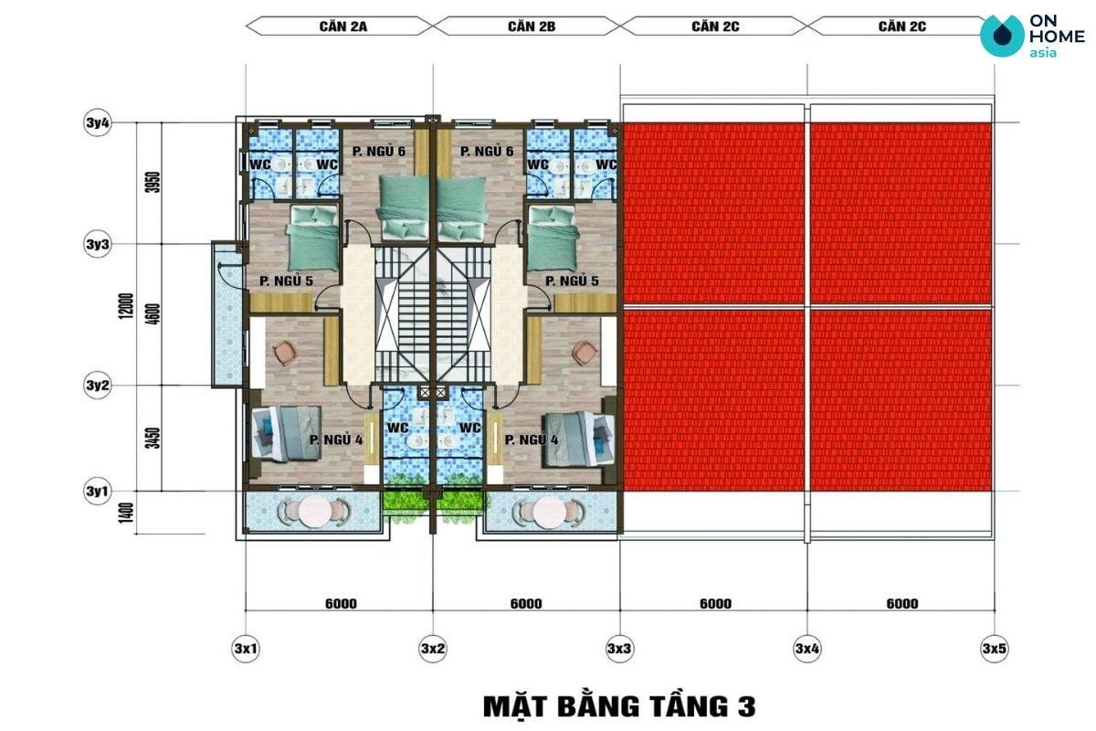 Mặt bằng nội thất tầng 3 dự án nhà phố Ecolakes Mỹ Phước (6x20)