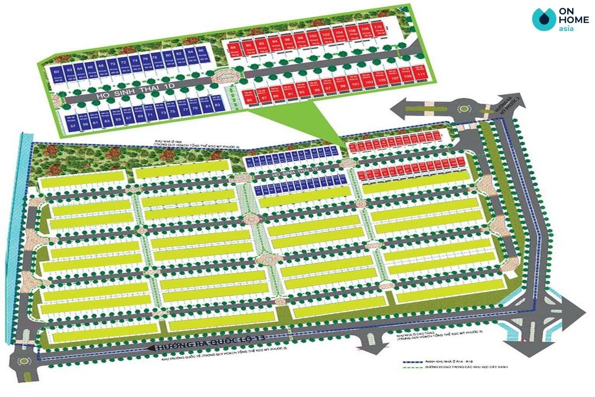 Mặt bằng quy mô dự án nhà phố Ecolakes Mỹ Phước
