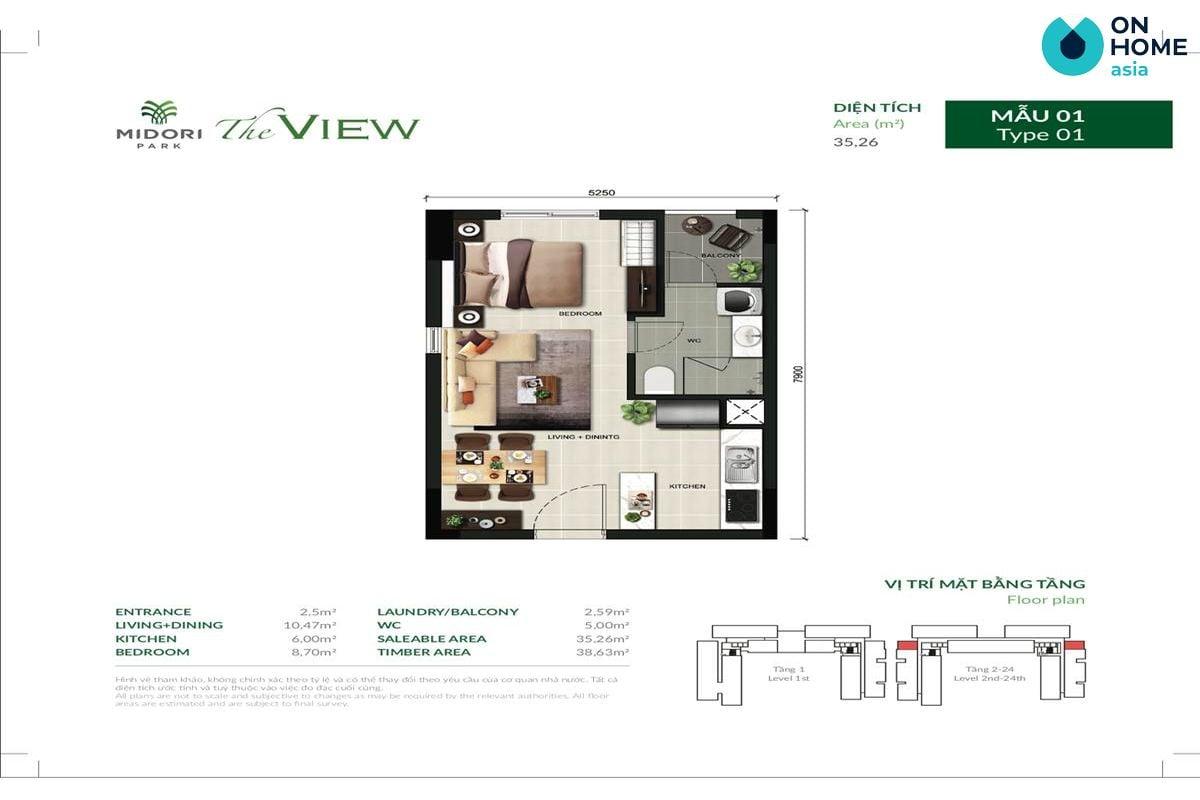 Mặt bằng nội thất chung cư The View 1 phòng ngủ