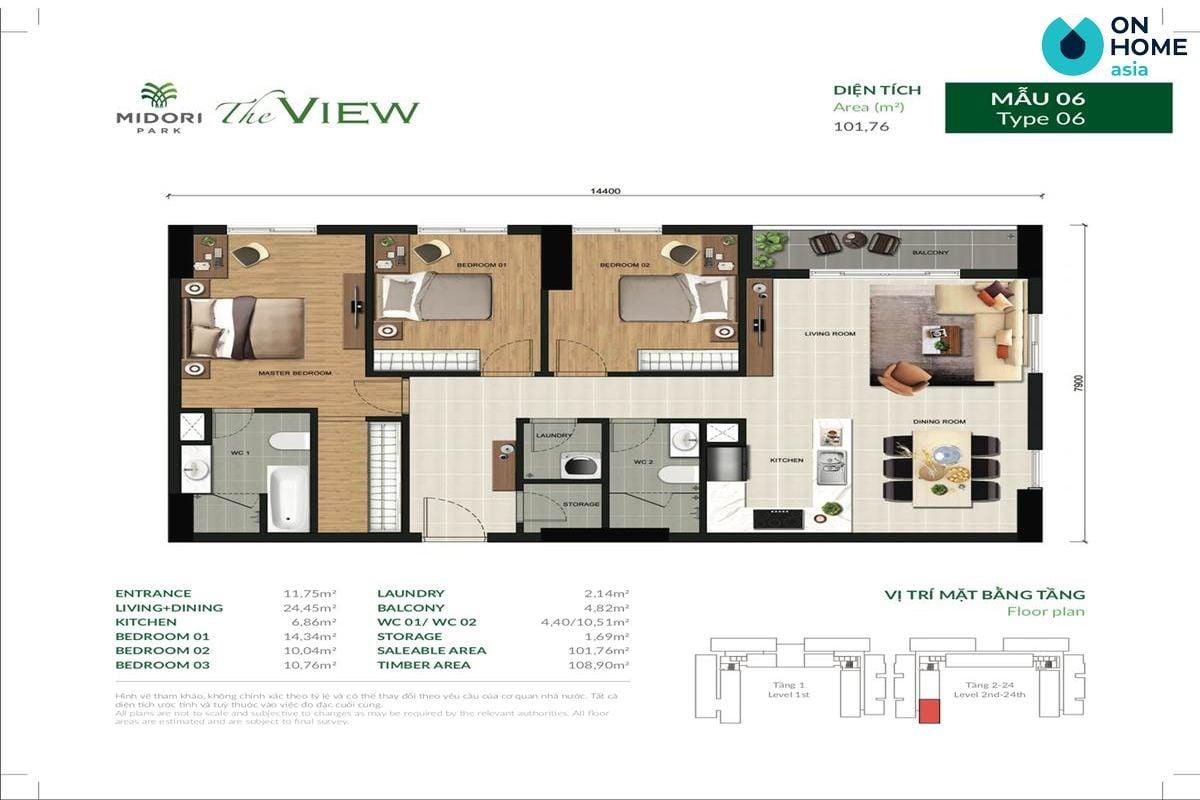 Mặt bằng căn hộ chung cư The View 3 phòng ngủ