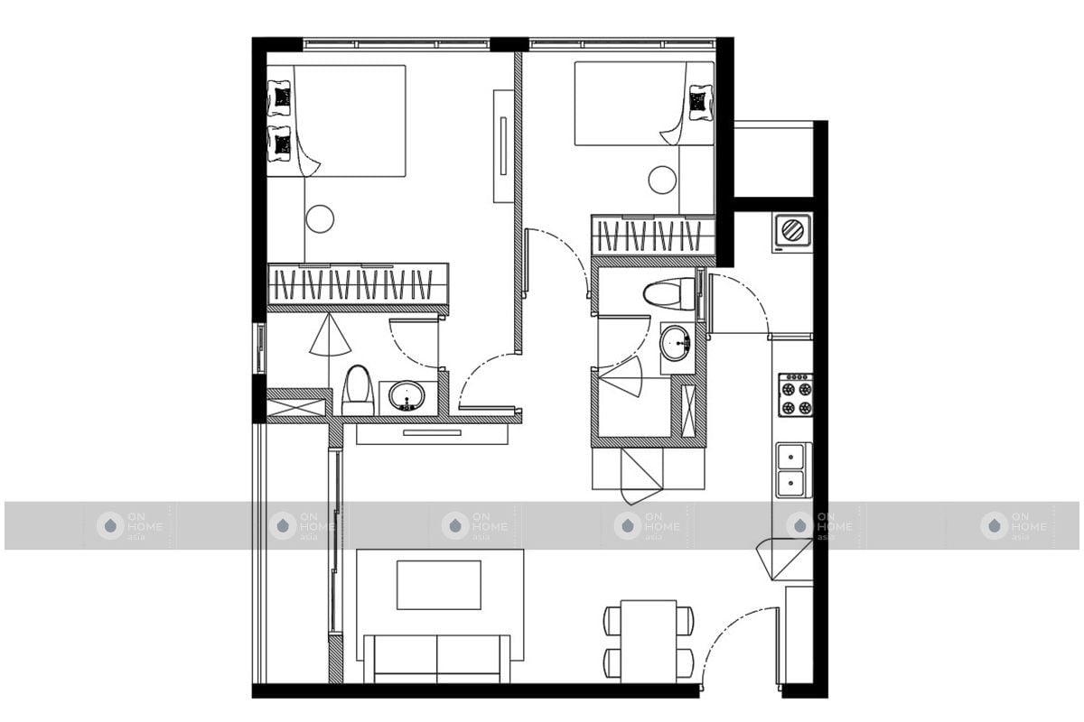 Mặt bằng căn 2 phòng ngủ - 2BRC