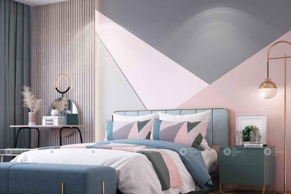Nội thất kết hợp giữa màu hồng và màu xanh sẽ mang lại một không gian nhẹ nhàng