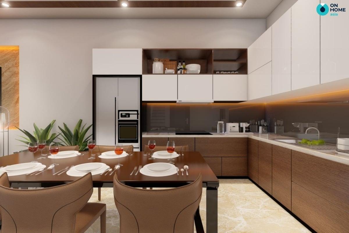 nội thất phòng bếp màu nâu