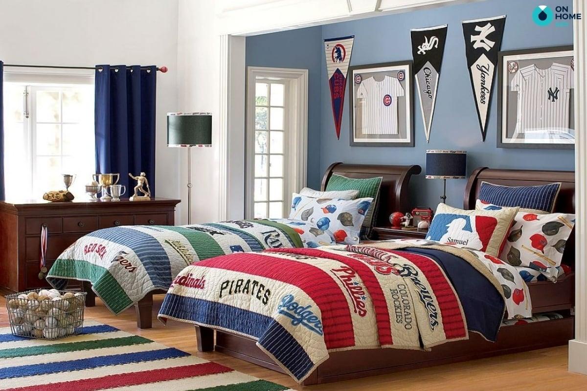 Sử dụng gam mầu ấn tượng cho thiết kế phòng ngủ bé trai