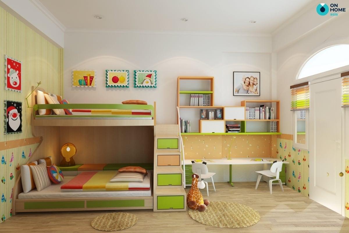 Nội thất giường tầng dành cho 2 bé trai
