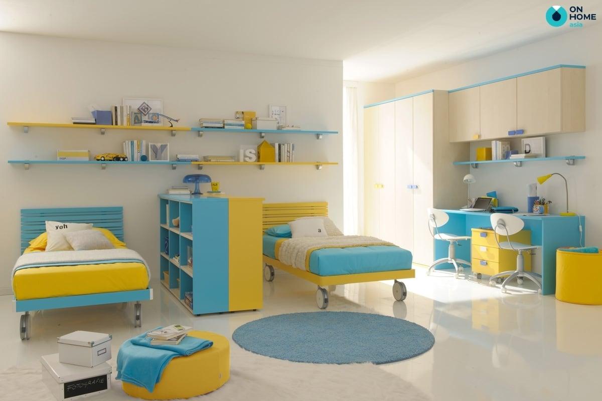 Phòng ngủ ngủ bé trai đơn giản