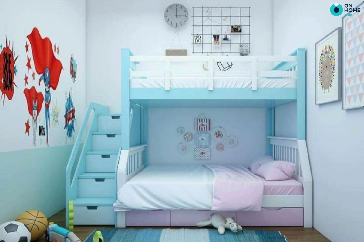 Giường tầng trong thiết kế phòng ngủ bé trai